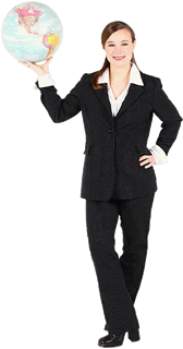 People professional woman holding globe 2 1 - Insurance FAQ